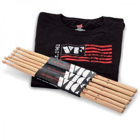 Vic Firth 5A 3er Pack mit T-Shirt Größe L